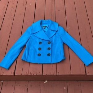 INC CONCEPTS COTTON, TEAL PEA COAT, SIZE MEDIUM
